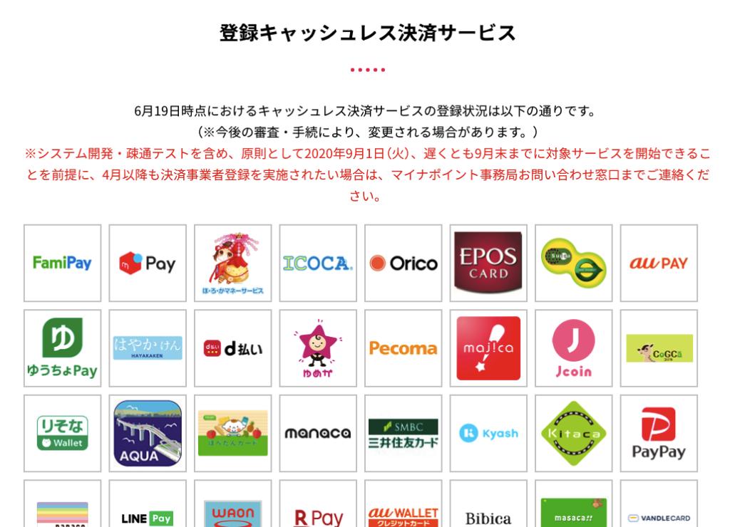 マイナポイント登録サービス(一部)